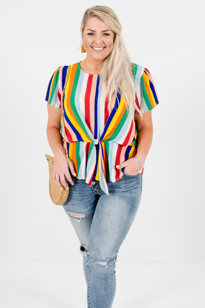 Rainbow Plus Size Striped Front Knot Tops Affordable Online Boutique