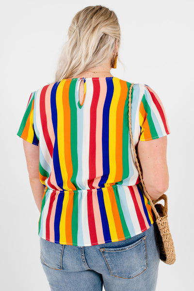 Multicolor Rainbow Striped Plus Size Front Knot Tops for Women