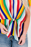 Rainbow Multi Striped Plus Size Curvy Front Knot Tops for Women