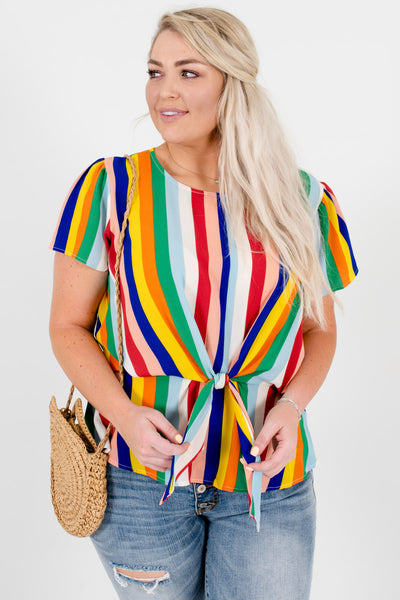 Rainbow Multi Striped Plus Size Boutique Front Knot Tops
