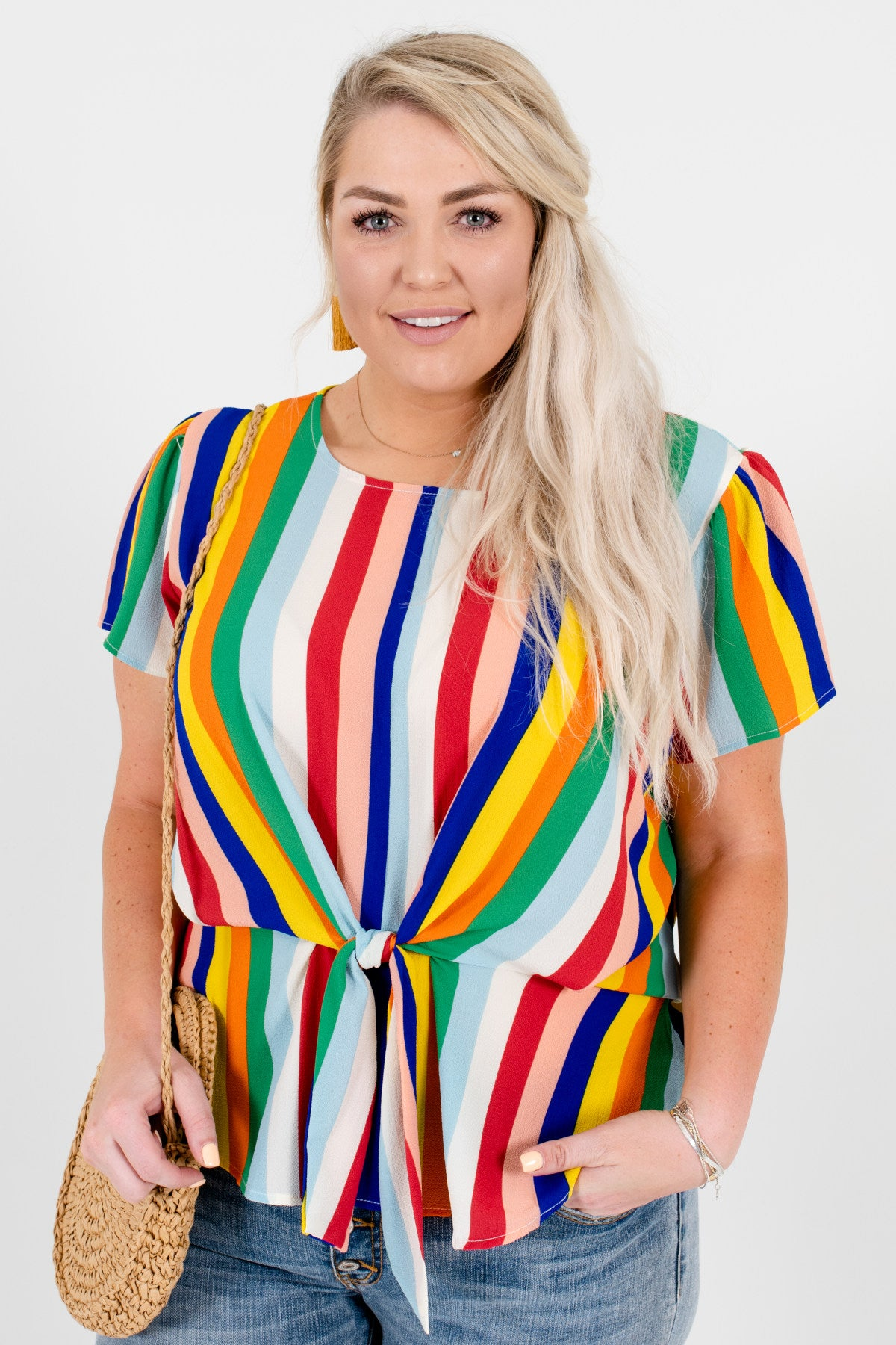 Rainbow Multicolor Plus Size Striped Front Knot Tops for Women