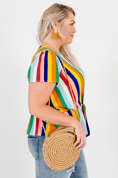 Rainbow Multicolor Plus Size Boutique Striped Knot Tops