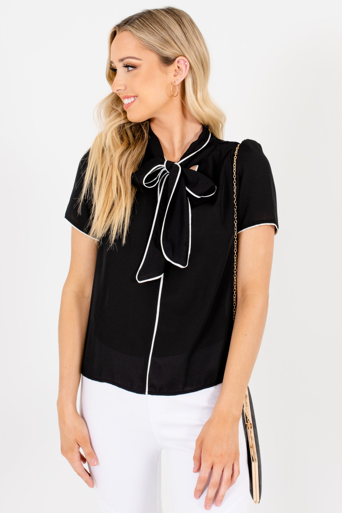 Black Tie Neckline Detail White Trim Blouses