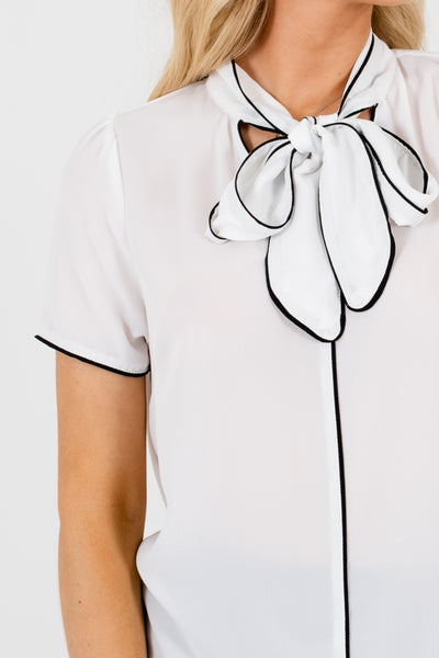 White Black Trim Neckline Tie Detail Blouses and Tops