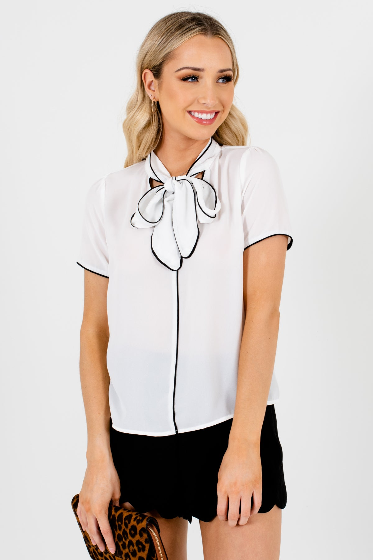 White Black Trim Tie Neckline Bow Detail Blouses for Women