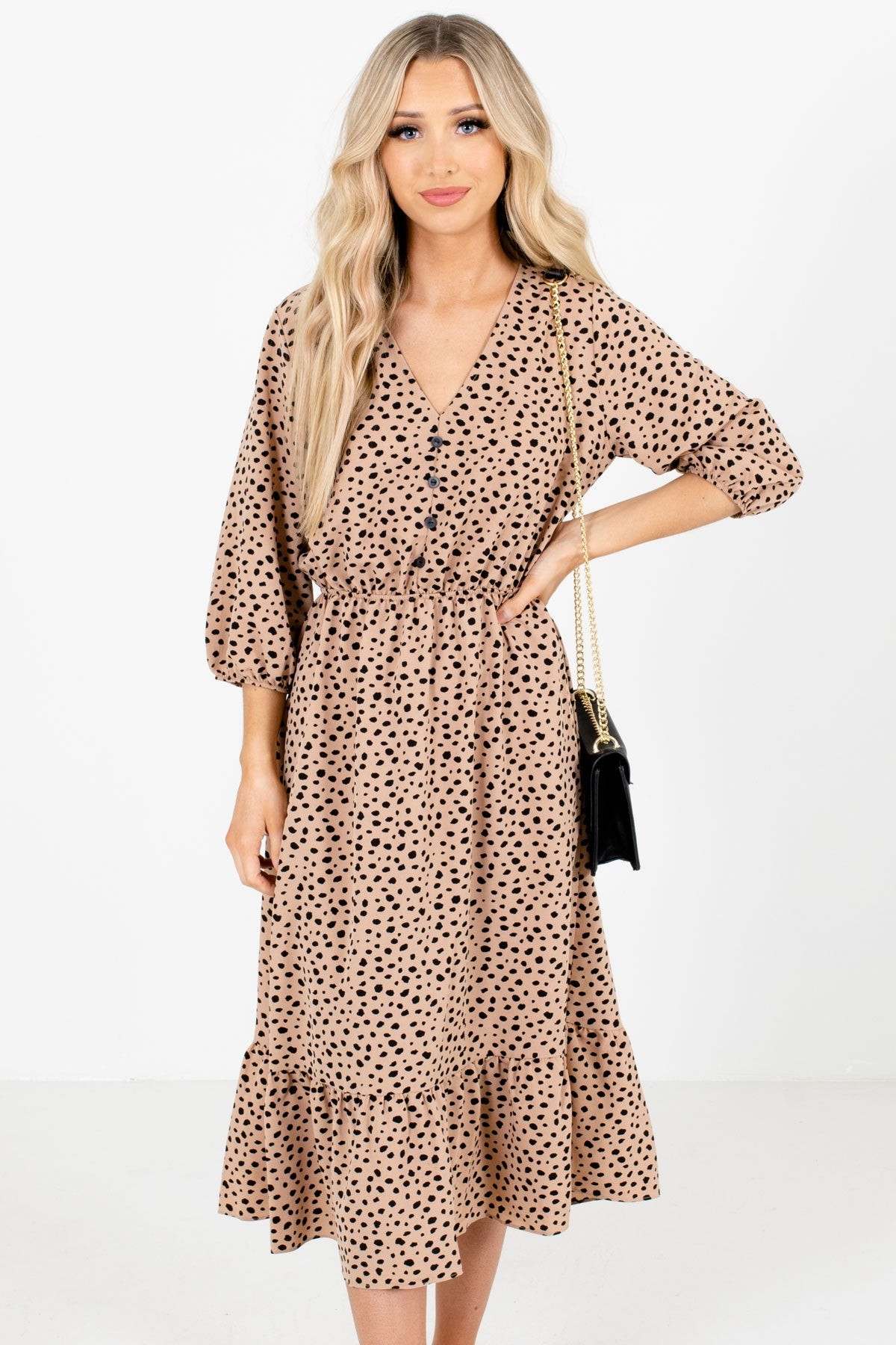 Brown and Black Polka Dot Patterned Boutique Midi Dresses for Women
