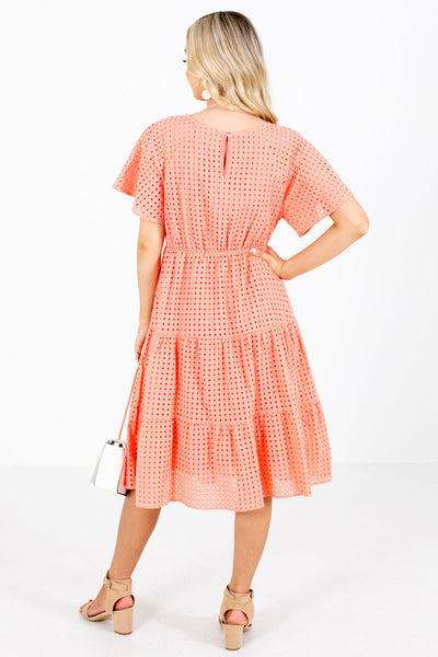 Women's Coral Keyhole Back Boutique Knee-Length Dress