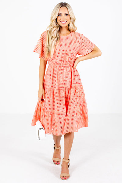 Coral Eyelet Material Boutique Knee-Length Dresses for Women