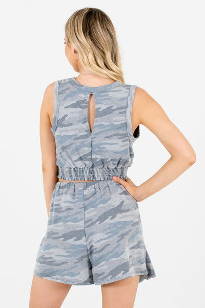 Women's Gray Patterned Camo Stretchy High-Quality Boutique Two-Piece Set