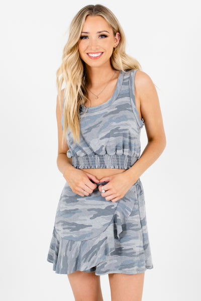 Women's Gray Camo Keyhole Back Smocked Hem Boutique Crop Top
