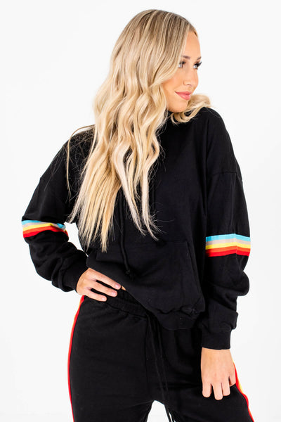 Black Multicolored Long Sleeve Boutique Hoodies for Women