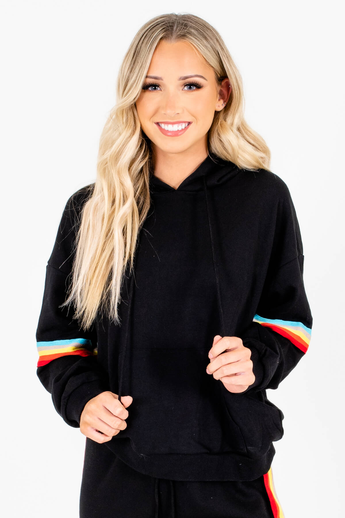 Black Multicolored Striped Boutique Hoodies for Women