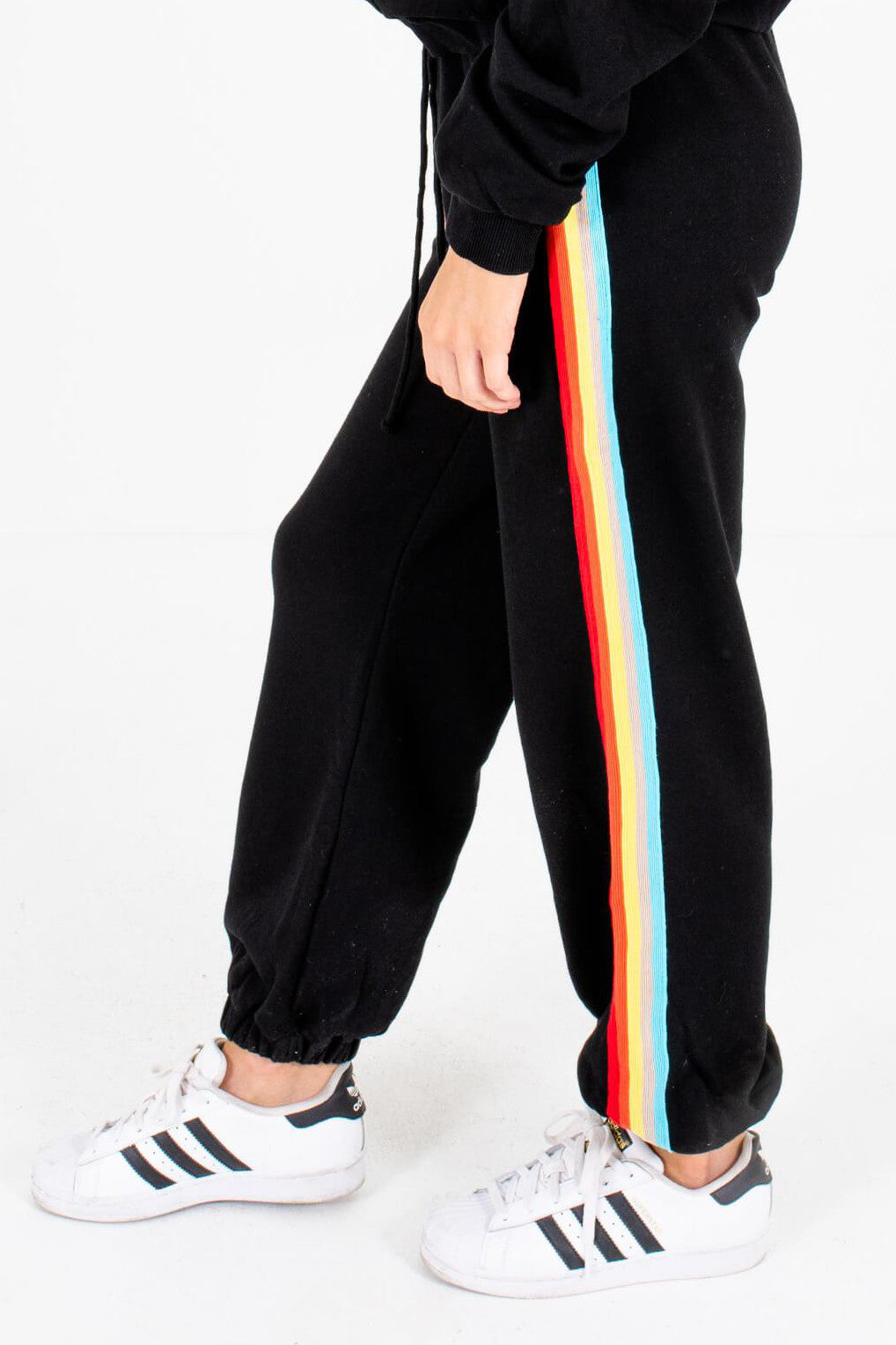 Black Multicolored Striped Boutique Jogger Pants for Women