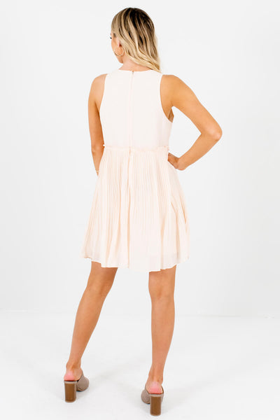 Cream Pleated Mini Dresses Affordable Online Boutique