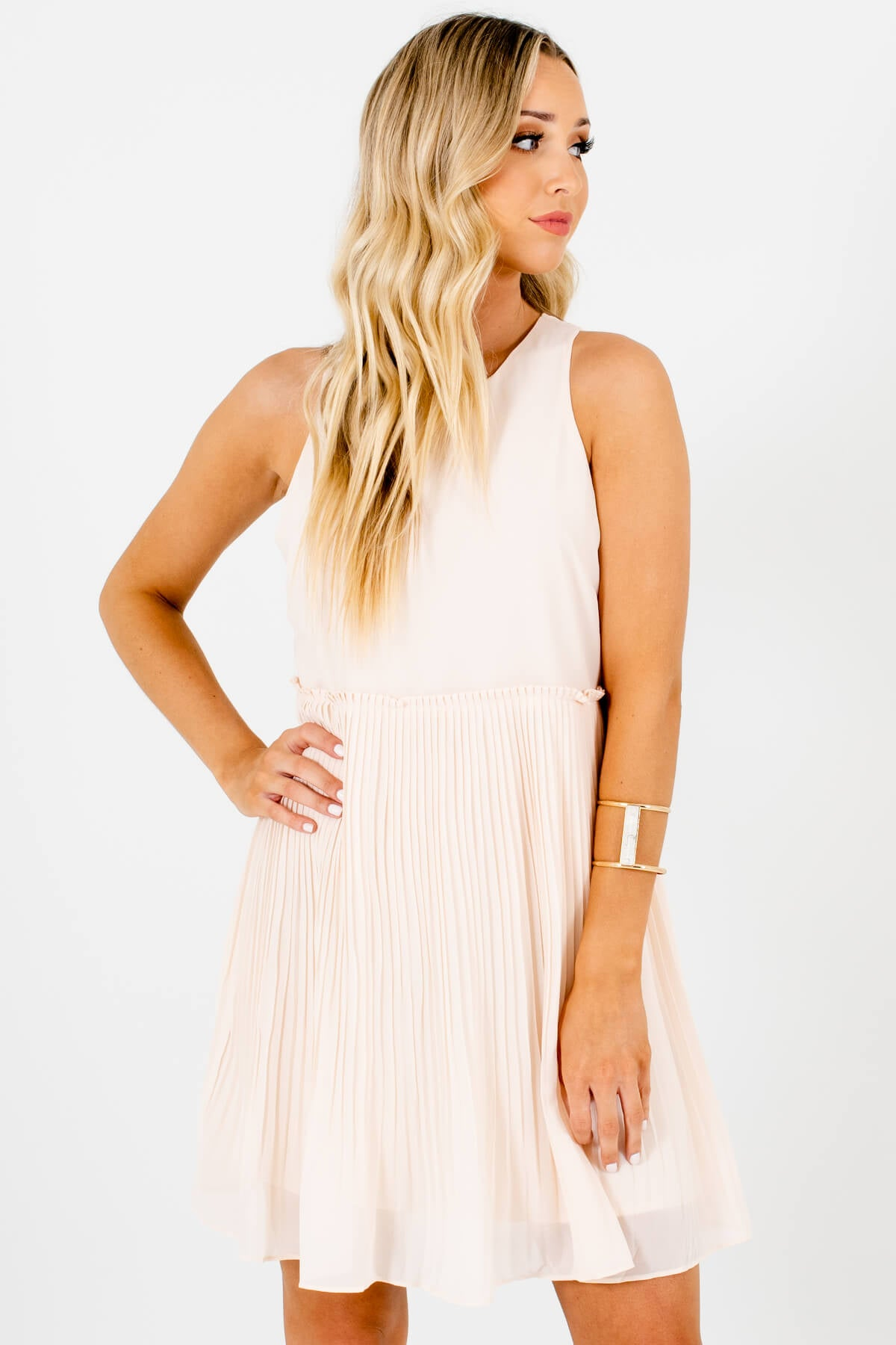 Peachy Cream Pleated Mini Dresses Affordable Online Boutique