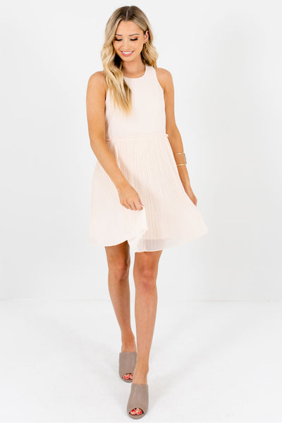 Cream Fully Lined Pleated Mini Dresses Affordable Online Boutique