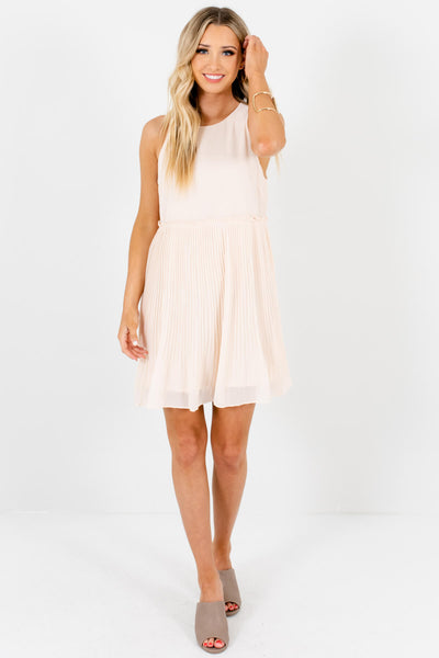 Peachy Cream Pleated Mini Dresses with Full Lining