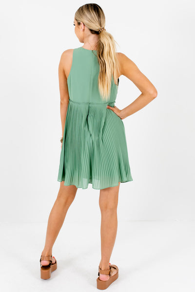Light Green Boutique Pleated Mini Dresses for Women