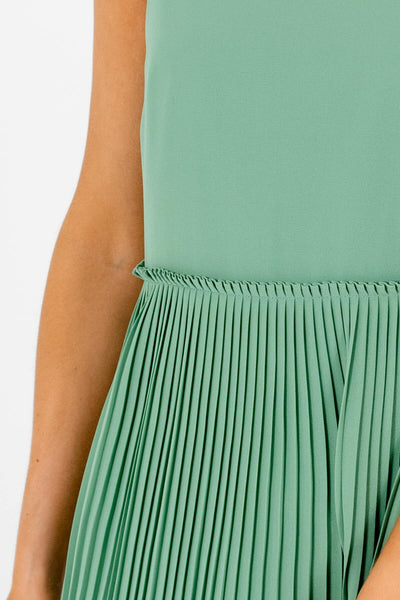 Light Green Pleated Mini Dresses with Full Lining and Zipper Back