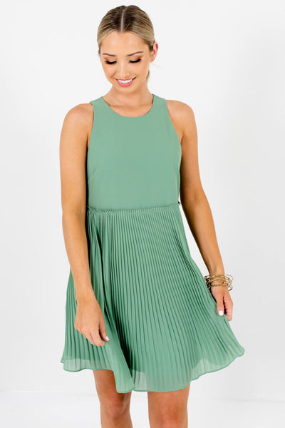 Light Green Cute Pleated Mini Dresses Affordable Online Boutique