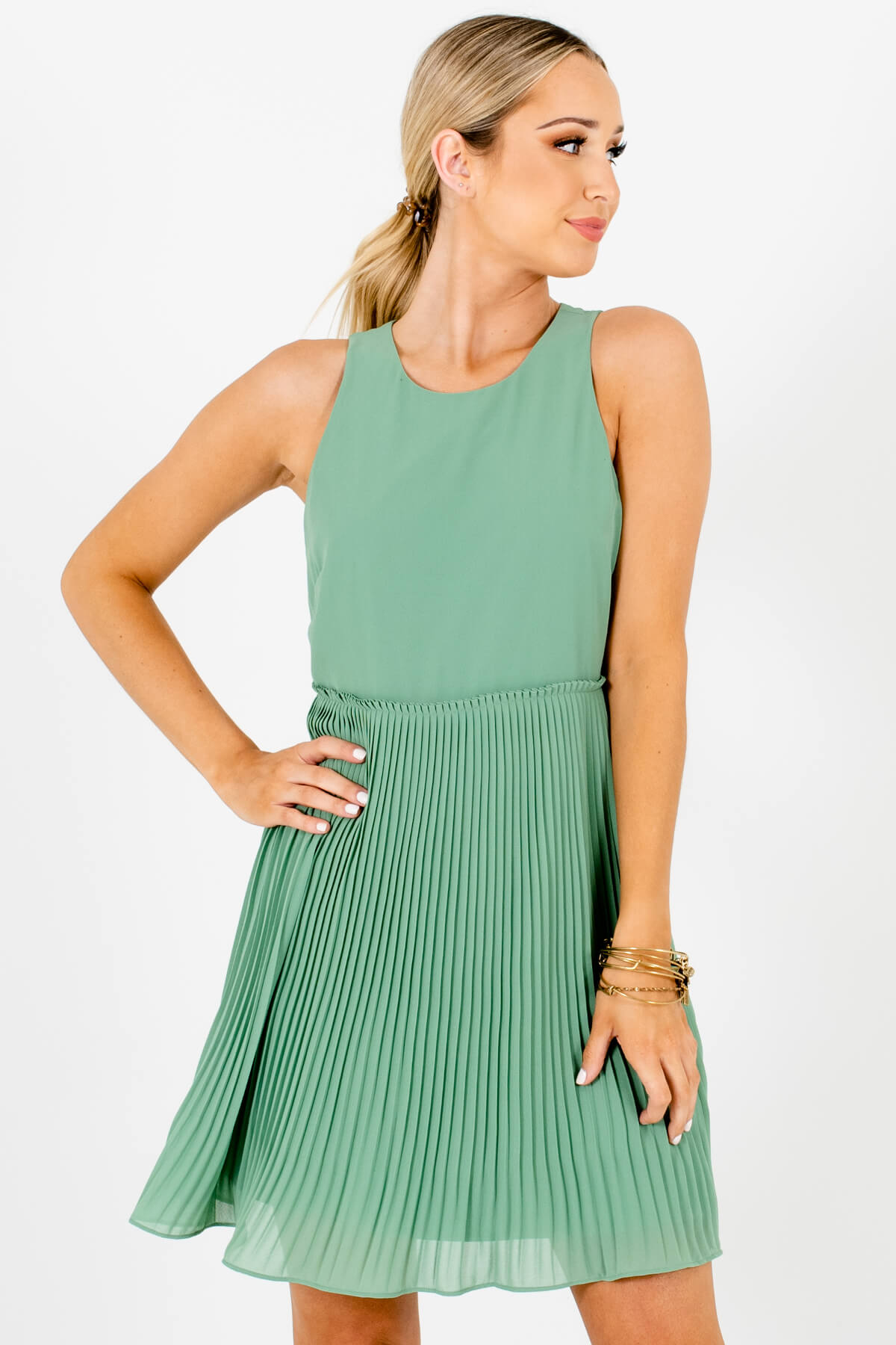Light Green Pleated Mini Dresses Affordable Online Boutique