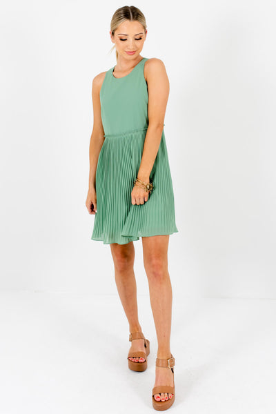 Light Green Fully Lined Pleated Mini Dresses for Women