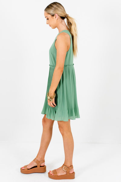 Light Green Pleated Mini Dresses Affordable Boutique