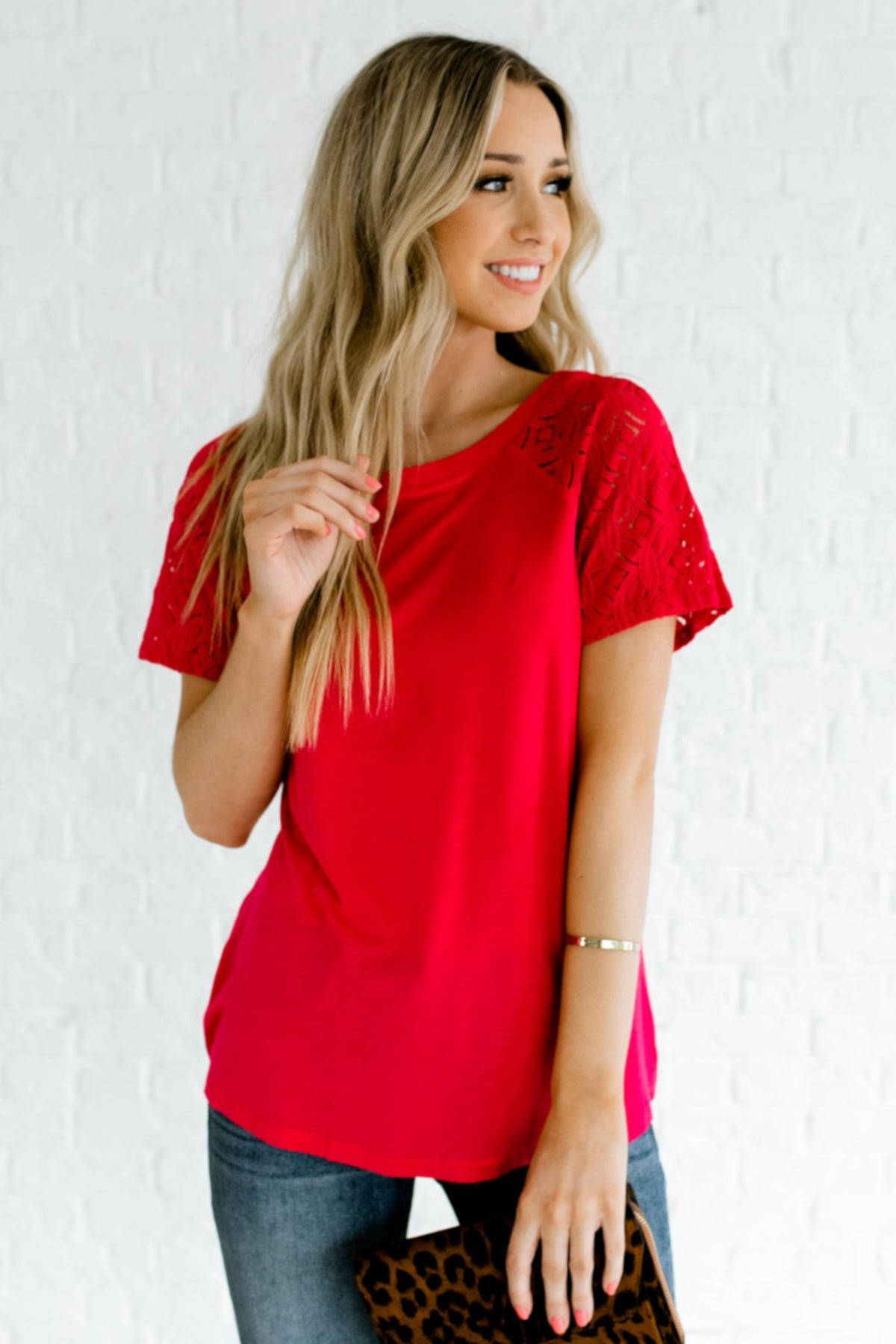 Rosy Red Textured Hollow Out Sleeve Detail Boutique Tops for Women