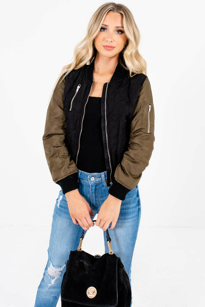 Black Olive Green Cute Bomber Jackets for Fall and Winter