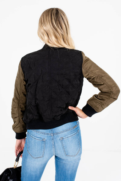 Black Green Quilted Bomber Jackets Affordable Online Boutique