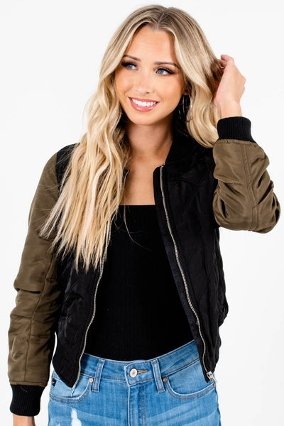 Black Olive Green Cropped Bomber Jackets for Women