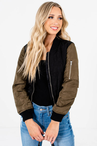 Black Olive Green Boutique Quilted Bomber Jackets