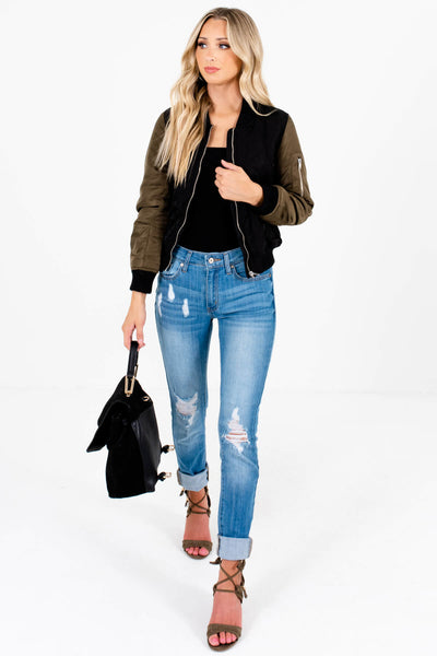 Black Olive Green Quilted Bomber Jackets for Women