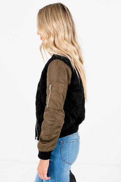 Black Olive Green Boutique Bomber Jackets with Zipper Pockets