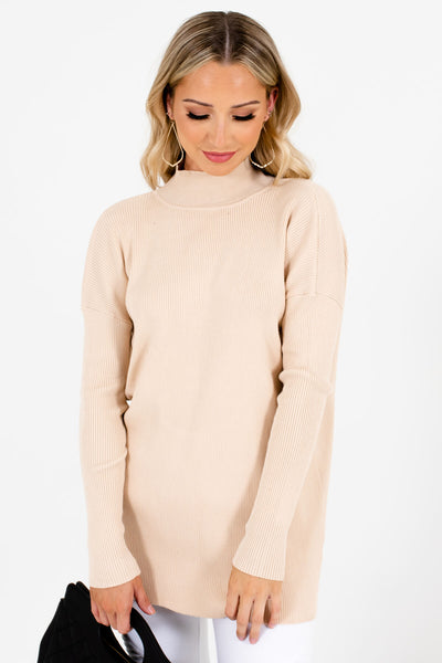Women's Beige Long Sleeve Boutique Sweater