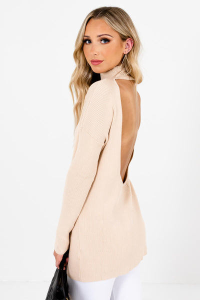 Beige Turtleneck Style Boutique Sweaters for Women