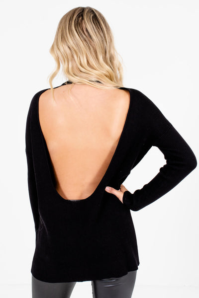 Women's Black High-Quality Ribbed Material Boutique Sweaters