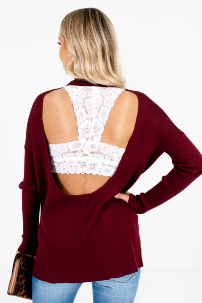 Women's Burgundy High-Quality Ribbed Material Boutique Sweaters