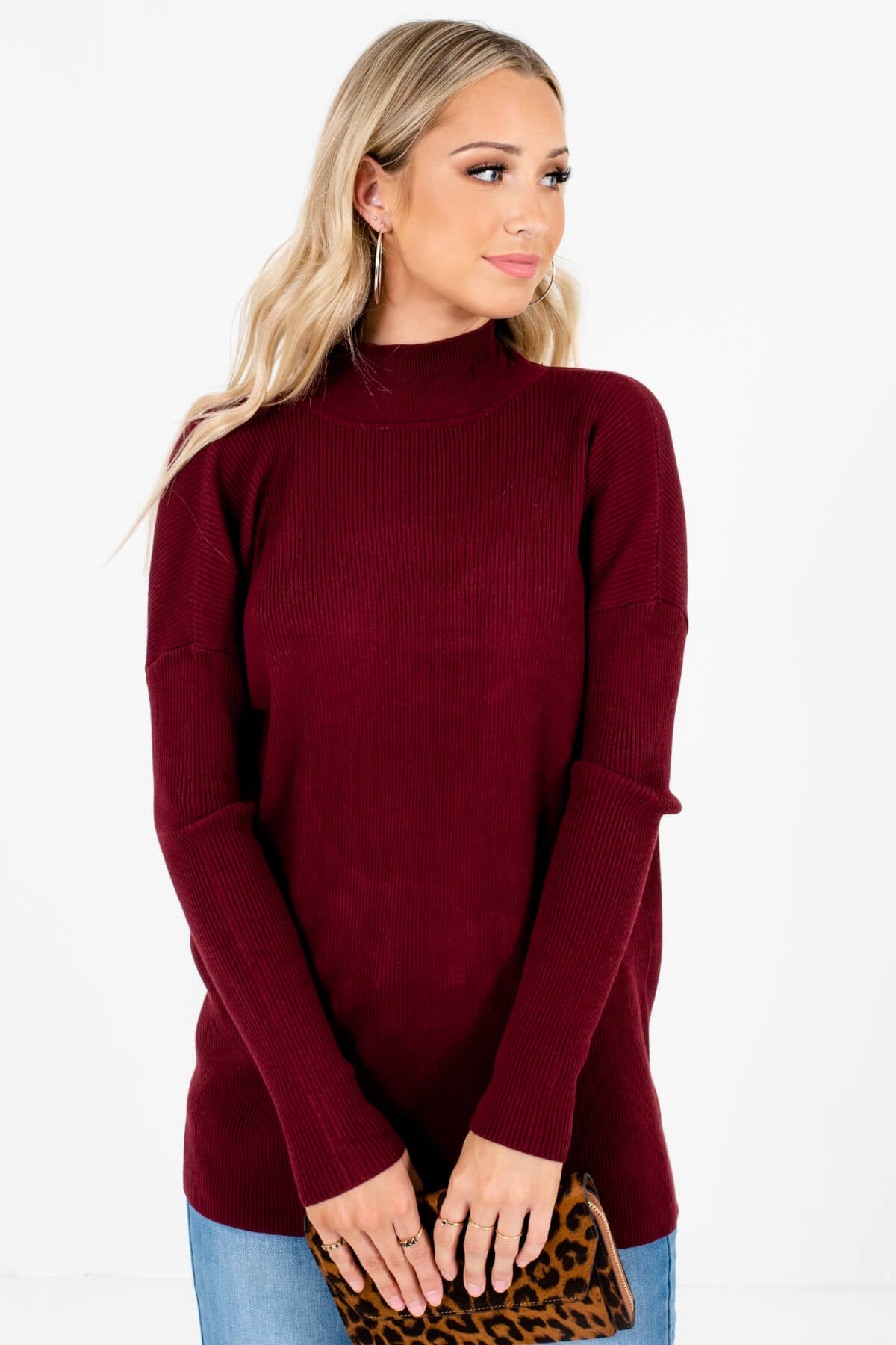 Burgundy Open Back Style Boutique Sweaters for Women