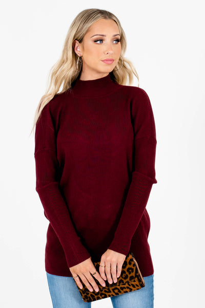 Women's Burgundy Warm and Cozy Boutique Clothing