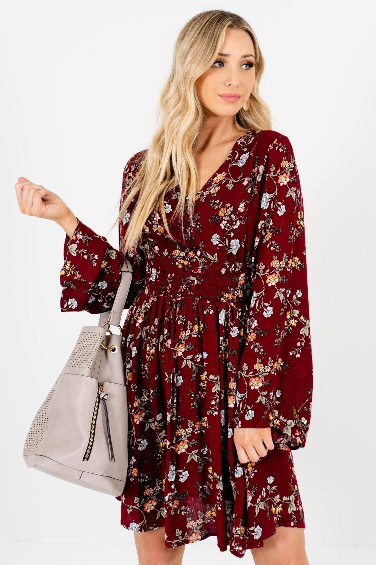 Burgundy Red Floral Print Long Sleeve Boutique Mini Dresses