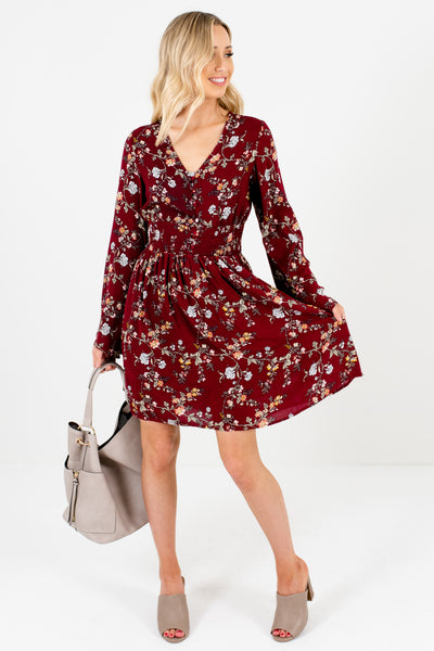 Burgundy Red Floral Long Sleeve Boho Mini Dress Boutique