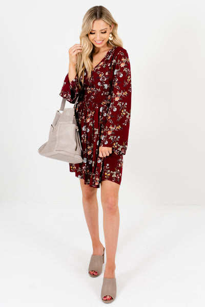 Burgundy Red Floral Print Long Sleeve Smocked Mini Dresses