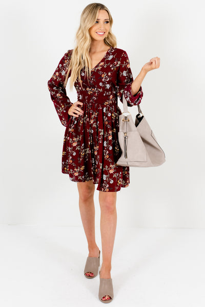 Burgundy Red Cute Floral Mini Dresses with Long Bell Sleeves