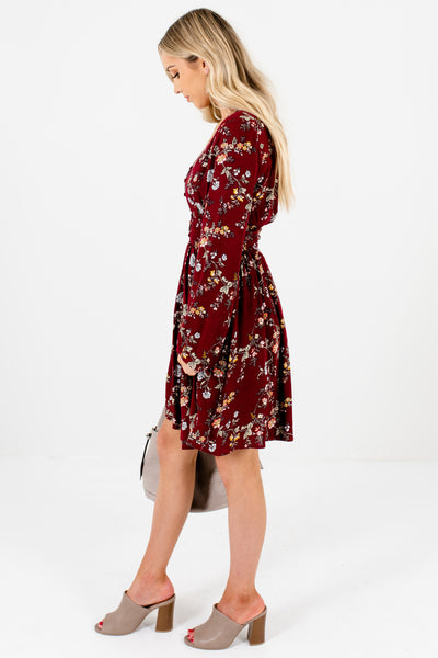 Burgundy Red Floral Smocked Button-Up Long Bell Sleeve Mini Dresses