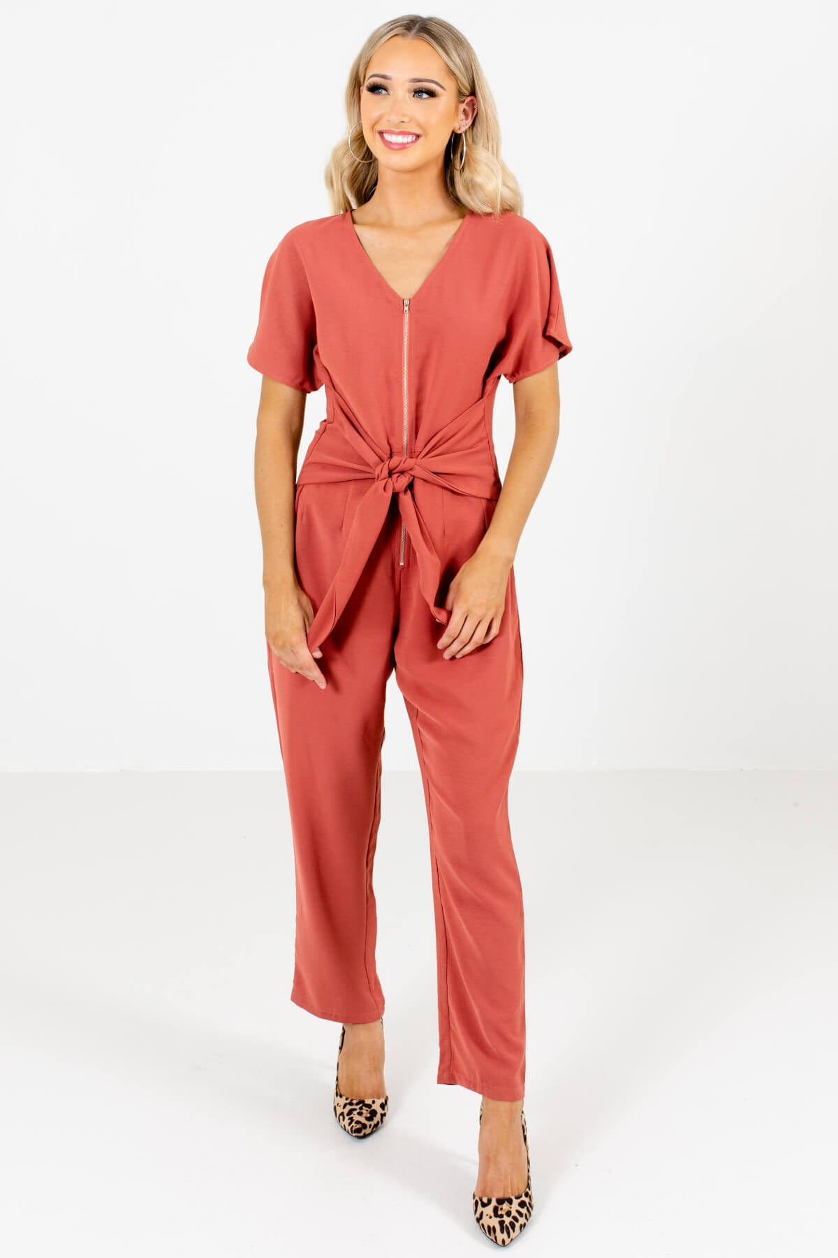 Dark Coral Zip-Up Bodice Boutique Jumpsuits for Women