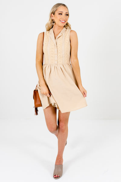 Beige Subtle Polka Dot Lace Accent Mini Dresses for Spring and Summer