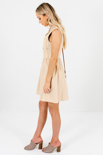 Tan Beige Brown Polka Dot Lace Mini Dresses Affordable Online Boutique