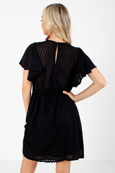 Women's Black Keyhole Back Boutique Mini Dress