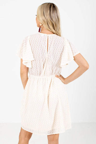 Women's Cream Elastic Waistband Boutique Mini Dress
